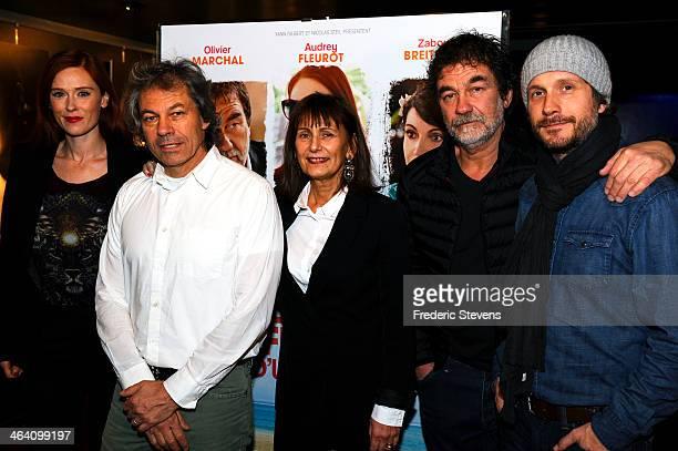 Actress Audrey Fleurot producer Yann Gilbert director Catherine Castel actor Olivier Marchal actor Charlie Dupont attend the 'Belle Comme La Femme...