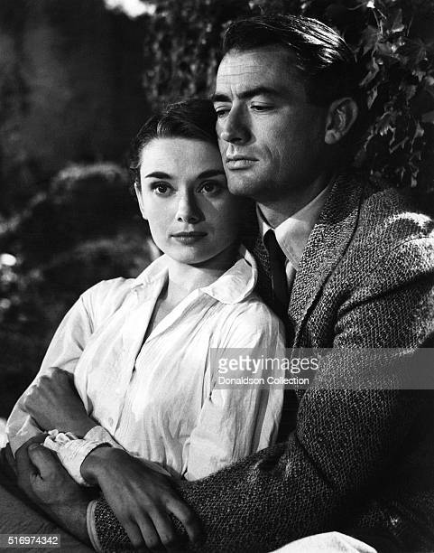 Actress Audrey Hepburn and actor Gregory Peck pose for a publicity still for the Paramount Pictures film 'Roman Holiday' in 1953 in Rome Italy