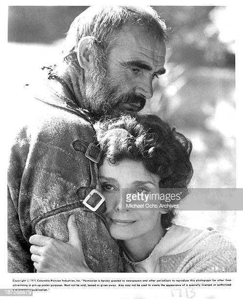 Actress Audrey Hepburn and actor Sean Connery on set of the Columbia Pictures movie 'Robin and Marian' in 1976
