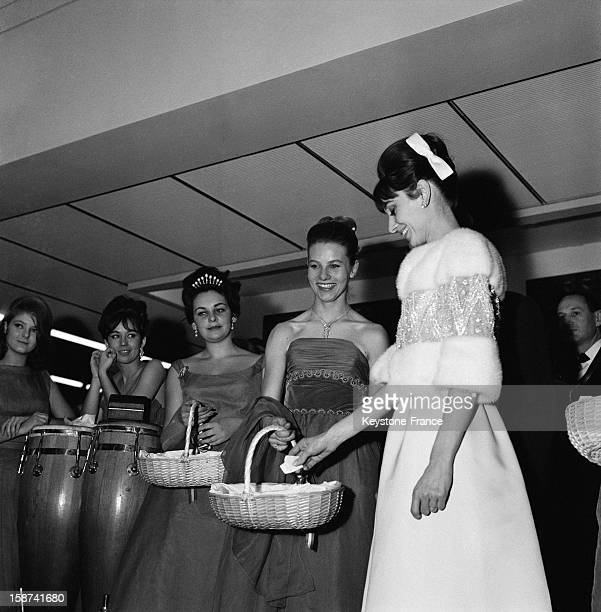 Actress Audrey Hepburn at 'The Bal Des Petits Lits Blancs' on board of the liner 'France' Le Havre January 14 1962
