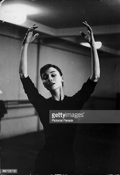 Actress Audrey Hepburn in a dance studio circa 1955