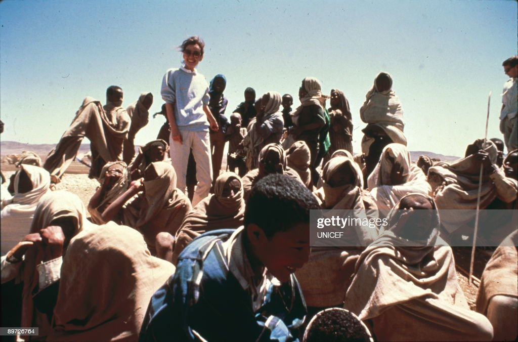 Actress Audrey Hepburn (1929-1993) in Ethiopia on her first field mission as goodwill ambassador to the United Nations Children's Fund (UNICEF), March 1988.