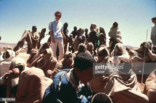 Actress Audrey Hepburn in Ethiopia on her first field mission as goodwill ambassador to the United Nations Children's Fund March 1988
