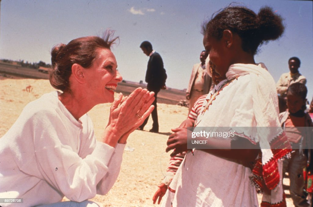 Actress Audrey Hepburn (1929-1993) in Ethiopia on Her first field mission in her capacity as goodwill ambassador to the United Nations Children's Fund (UNICEF), March 1988.
