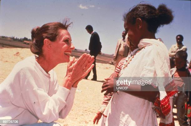 Actress Audrey Hepburn in Ethiopia on Her first field mission in her capacity as goodwill ambassador to the United Nations Children's Fund March 1988