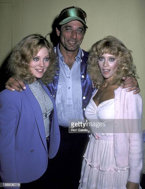 Actress Audrey Landers athlete Joe Namath and actress Judy Landers pose for photographs backstage after performance of 'Damn Yankees' on July 15 1981...