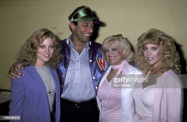 Actress Audrey Landers athlete Joe Namath Ruth Landers and actress Judy Landers pose for photographs backstage after performance of 'Damn Yankees' on...