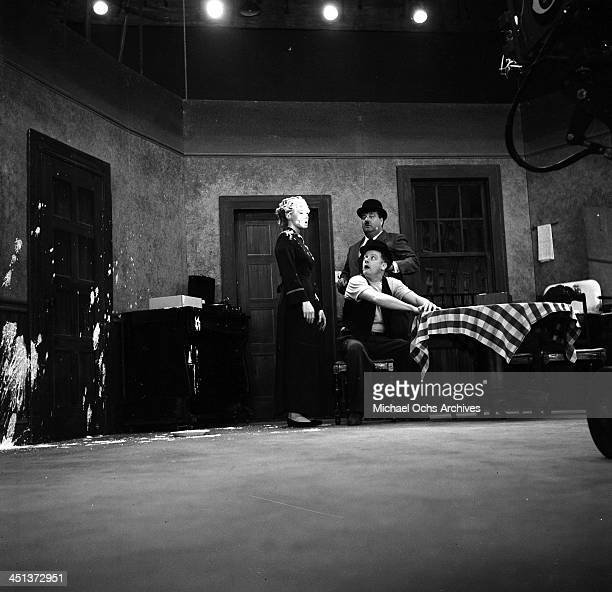 Actress Audrey Meadows actors Art Carney and and Jackie Gleason on stage during the taping of the 'The Jackie Gleason Show' in Los Angeles California