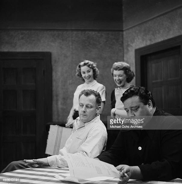 Actress Audrey Meadows Joyce Randolph with actors Art Carney and Jackie Gleason on stage during the ' The Jackie Gleason Show' in Los Angeles...