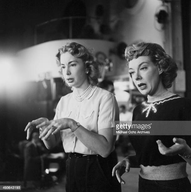 Actress Audrey Meadows with Joyce Randolph on stage during the ' The Jackie Gleason Show' in Los Angeles California