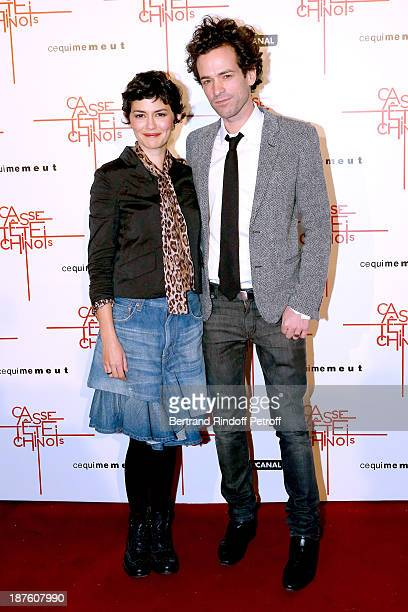Actress Audrey Tautou and actor Romain Duris attend screening of the movie 'Casse Tete Chinois' at Le Grand Rex on November 10 2013 in Paris France
