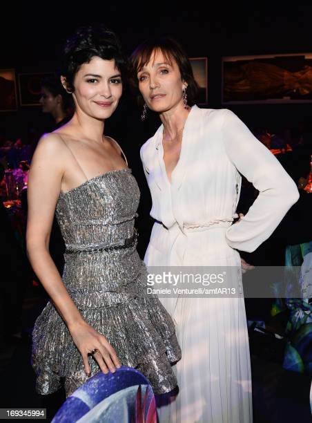 Actress Audrey Tautou and actress Kristin Scott Thomas attend amfAR's 20th Annual Cinema Against AIDS during The 66th Annual Cannes Film Festival at...