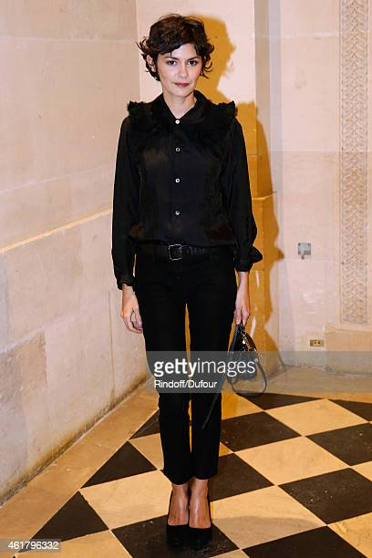Actress Audrey Tautou attends Luc Besson receives the First 'Gold Medal of the Academy of Arts and Techniques of Cinema' Held at Monnaie De Paris on...