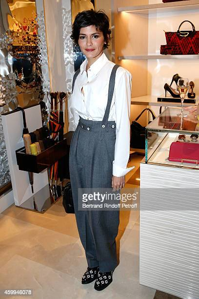 Actress Audrey Tautou attends the Longchamp Elysees 'Lights On Party' Boutique Launch on December 4 2014 in Paris France