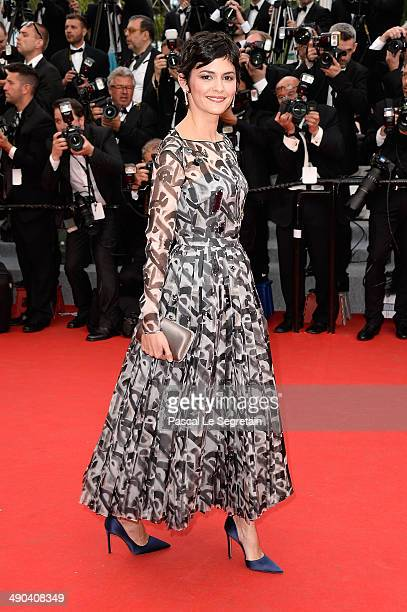 Actress Audrey Tautou attends the Opening Ceremony and the 'Grace of Monaco' premiere during the 67th Annual Cannes Film Festival on May 14 2014 in...