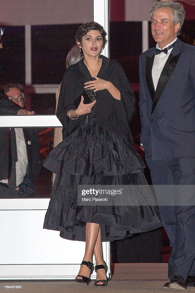 Actress Audrey Tautou is seen leaving the 'Agora' dinner during the 66th Annual Cannes Film Festival on May 25, 2013 in Cannes, France.