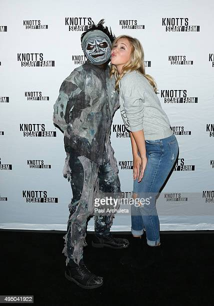 Actress Audrey Whitby attends the Knott's Scary Farm black carpet at Knott's Berry Farm on October 1 2015 in Buena Park California