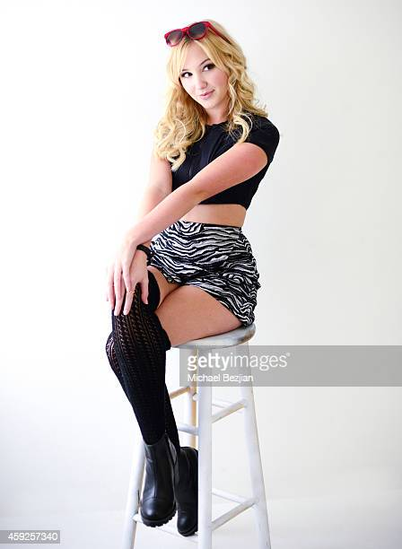 Actress Audrey Whitby poses for portrait at Audrey Whitby And Sloane Morgan Siegel Visit The Starving Artists Project on November 19 2014 in Los...
