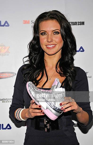 Actress Audrina Partridge poses with Sportie LA's new Special Edition Melrose women's footwear by Fila at the launch party for the shoe on December...