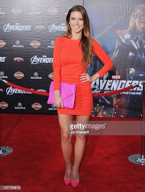 Actress Audrina Patridge arrives at the Los Angeles Premiere of 'The Avengers' at the El Capitan Theatre on April 11 2012 in Hollywood California