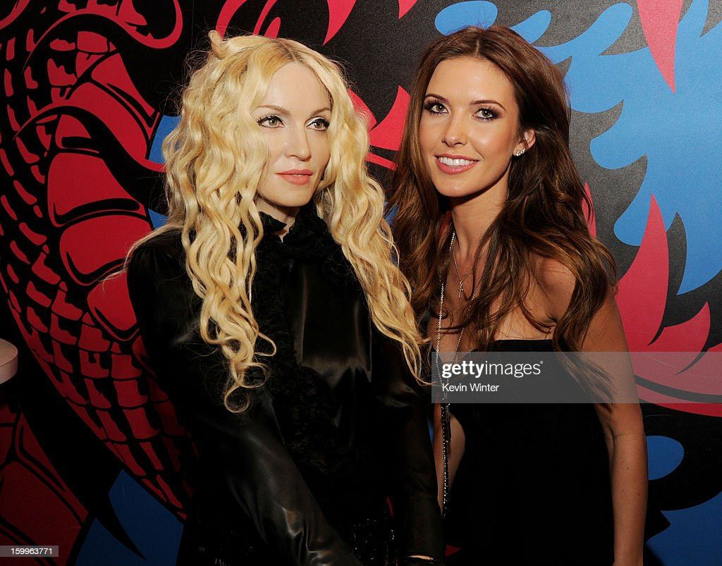 Actress <a gi-track='captionPersonalityLinkClicked' href=/galleries/search?phrase=Audrina+Patridge&family=editorial&specificpeople=2584350 ng-click='$event.stopPropagation()'>Audrina Patridge</a> poses with a wax figure of <a gi-track='captionPersonalityLinkClicked' href=/galleries/search?phrase=Madonna+-+Singer&family=editorial&specificpeople=156408 ng-click='$event.stopPropagation()'>Madonna</a> at the after party for the premiere of Relativity Media's 'Movie 43' at Madame Tussaud's Hollywood on January 23, 2013 in Los Angeles, California.