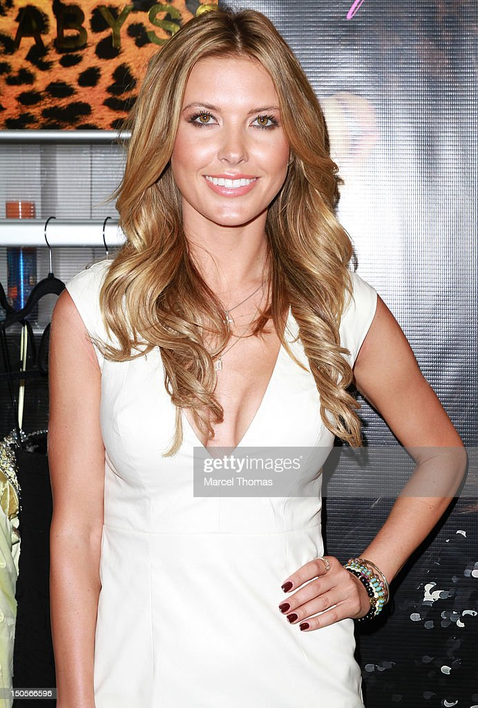 Actress <a gi-track='captionPersonalityLinkClicked' href=/galleries/search?phrase=Audrina+Patridge&family=editorial&specificpeople=2584350 ng-click='$event.stopPropagation()'>Audrina Patridge</a> visits Australian designer Abby Kheri's booth at the 2012 MAGIC Convention at Mandalay Bay Hotel on August 21, 2012 in Las Vegas, Nevada.