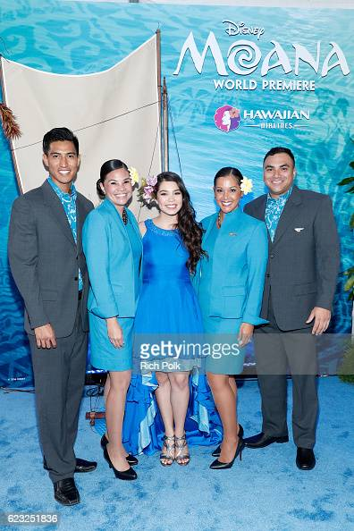 Actress Aulii Cravalho is seen with the Hawaiian Airlines promo team at the Hawaiian Airlines booth at the world premiere of Disney's 'Moana' at the...