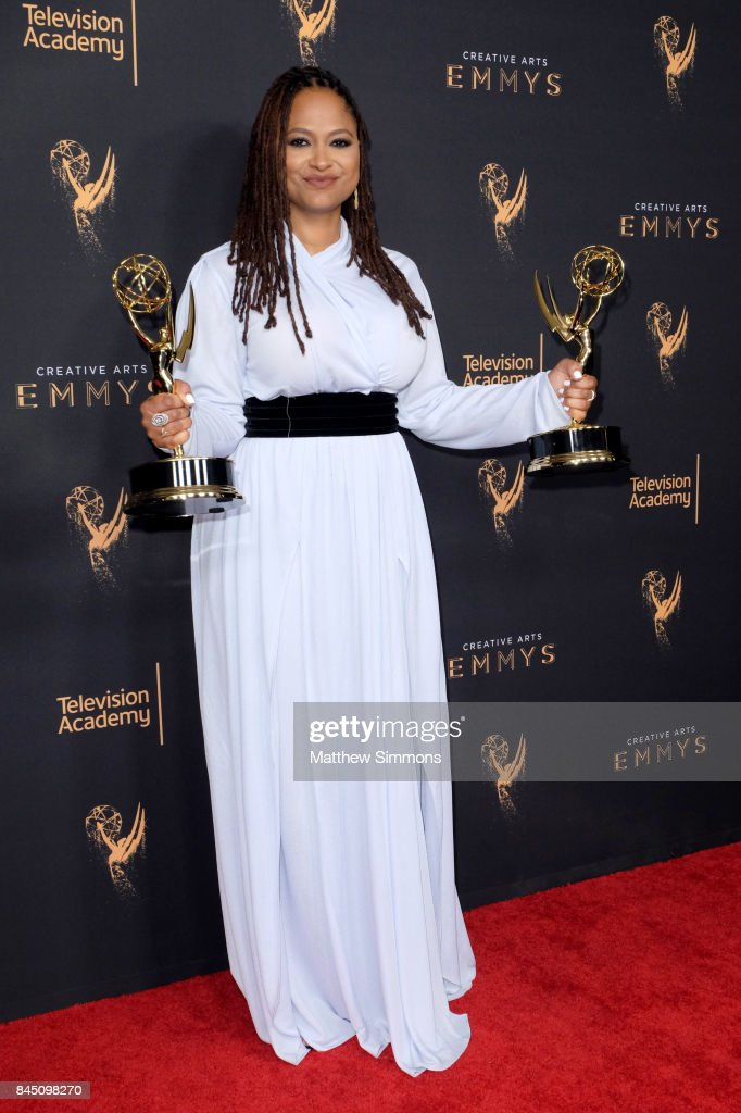 Actress Ava DuVernay poses in the pressroom during the 2017 Creative Arts Emmy Awards at Microsoft Theater on September 9, 2017 in Los Angeles, California.