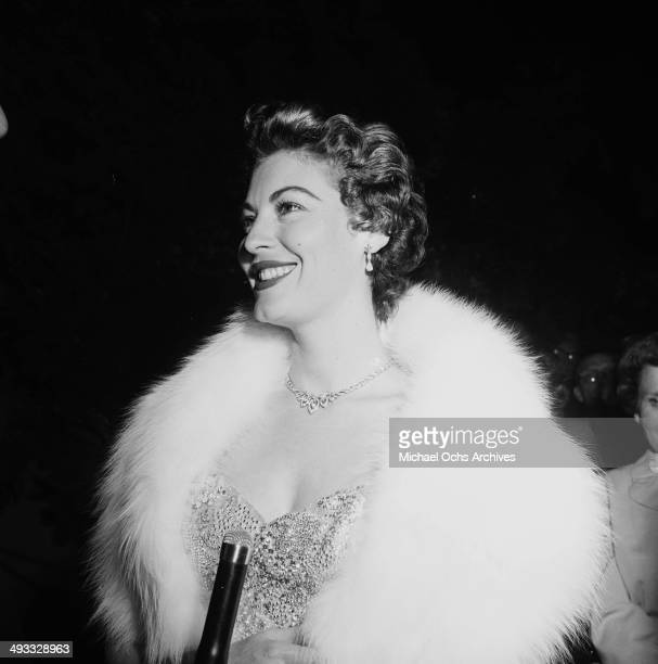 Actress Ava Gardner attends the premiere of 'Mogambo' in Los Angeles California