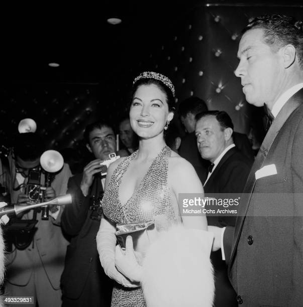 Actress Ava Gardner attends the premiere of 'The Barefoot Contessa' in Los Angeles California