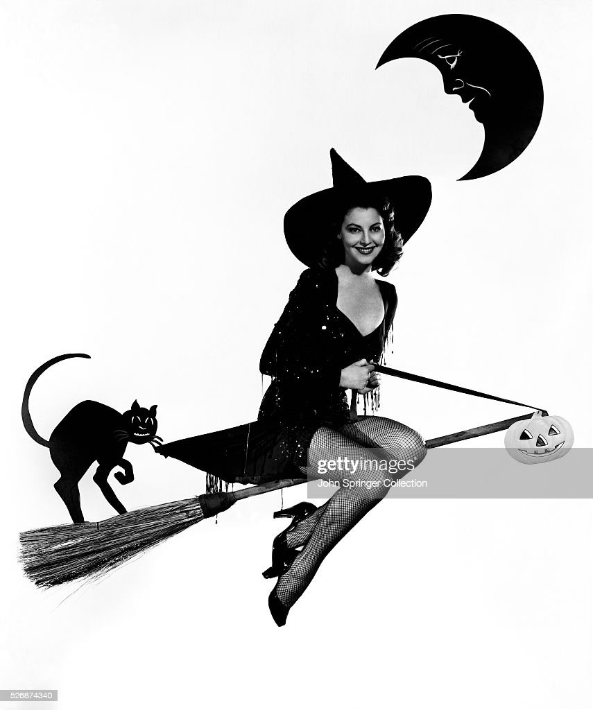 Actress <a gi-track='captionPersonalityLinkClicked' href=/galleries/search?phrase=Ava+Gardner&family=editorial&specificpeople=93109 ng-click='$event.stopPropagation()'>Ava Gardner</a> Dressed as a Witch
