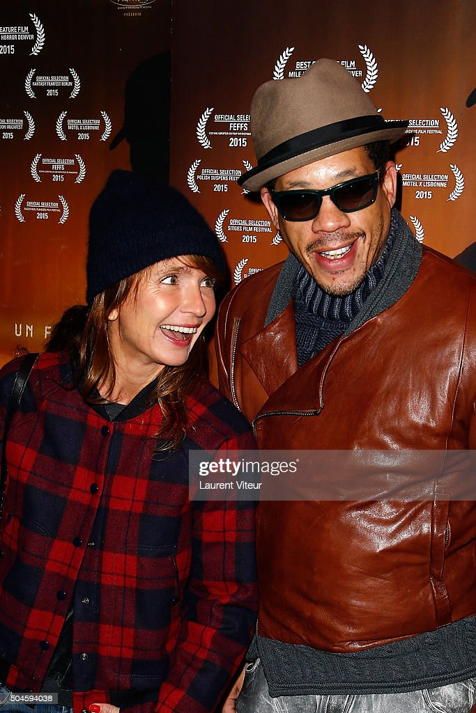 Actress Axelle Laffont and Actor and Singer Joey Starr attend 'Night Fare' Paris Premiere at Drugstore Publicis Cinema on January 11, 2016 in Paris, France.