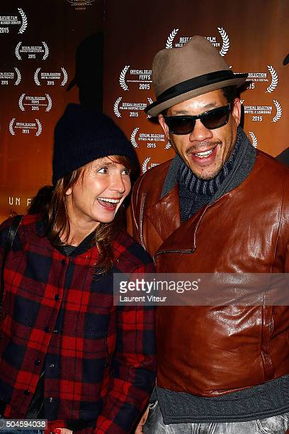 Actress Axelle Laffont and Actor and Singer Joey Starr attend 'Night Fare' Paris Premiere at Drugstore Publicis Cinema on January 11 2016 in Paris...