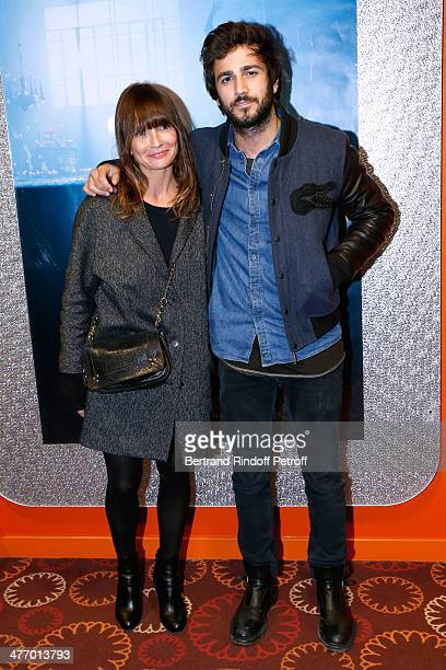 Actress Axelle Laffont and her companion Cyril Paglino attend the screening of 'La valse de Marylore' short film Held at Cinema Gaumont Opera in...