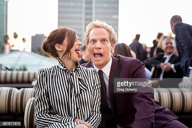 Actress Aya Cash and Actor Chris Geere pose for a picture as they attend the after party for the Premiere Of FXX's 'You're The Worst' Season 3 at...
