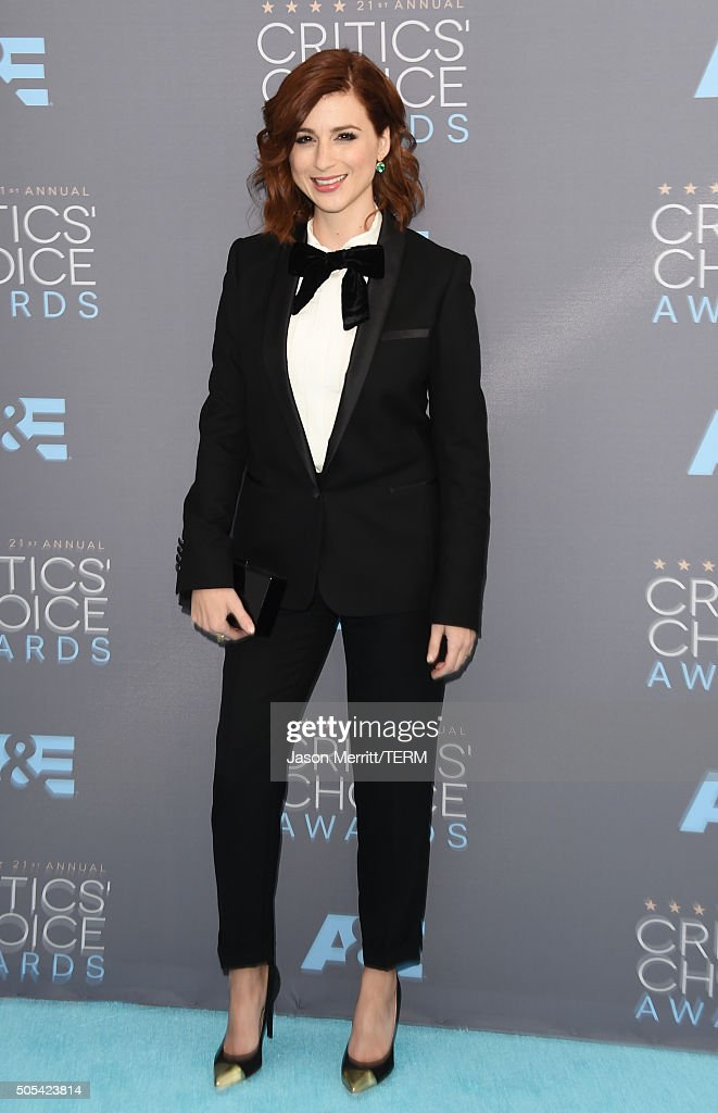 Actress Aya Cash attends the 21st Annual Critics' Choice Awards at Barker Hangar on January 17 2016 in Santa Monica California