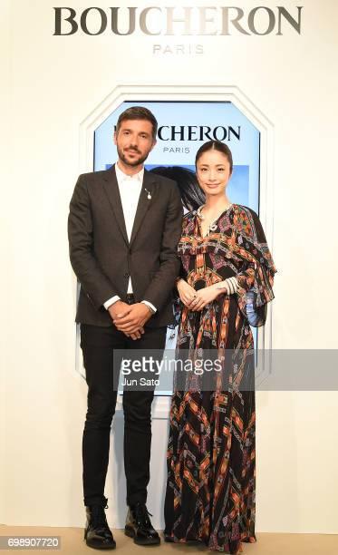 Actress Aya Ueto and Global Communications Director at Boucheron Cyril Cabellos attend the Boucheron Serpent Boheme Collection Launch at Isetan...