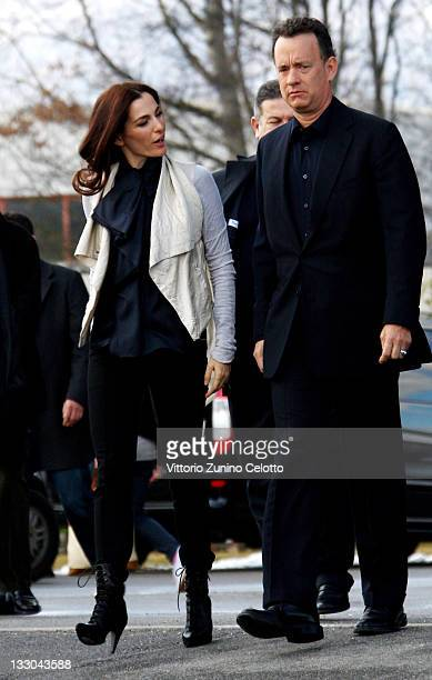 Actress Ayelet Zurer and actor Tom Hanks attend the 'Angels Demons' Photocall held at CERN on February 12 2009 in Geneva Switzerland