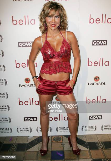 Actress Aylin Mujica poses during arrivals for the premiere of the movie 'Bella' at the Gusman Theatre on October 23 2007 in Miami Florida