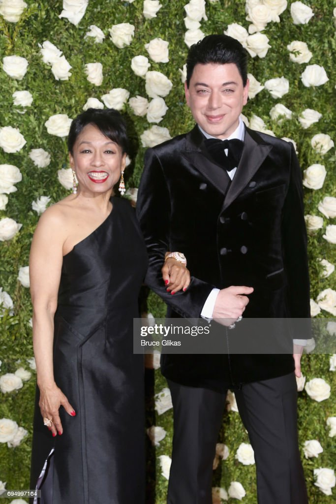 Actress Baayork Lee and designer Malan Breton attend the 71st Annual Tony Awards at Radio City Music Hall on June 11, 2017 in New York City.