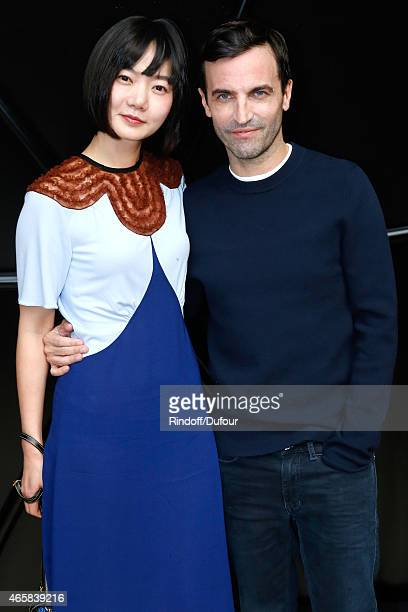 Actress Bae Doona and Fashion Designer Nicolas Ghesquiere pose after the Louis Vuitton show as part of the Paris Fashion Week Womenswear Fall/Winter...