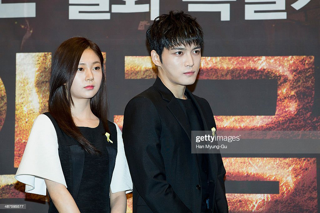 Actress Baek Jin-Hee and Kim Jae-Joong of South Korean boy band JYJ attend MBC Drama 'Triangle' press conference at the Imperial Palace Hotel on April 30, 2014 in Seoul, South Korea. The drama will open on May 05, in South Korea.