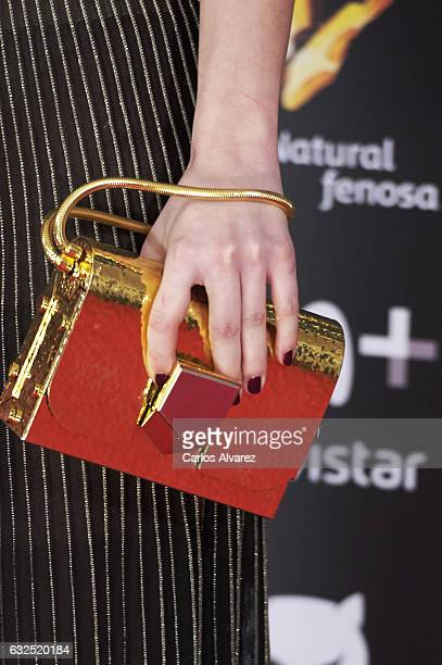 Actress bag detail Anna Castillo attends the Feroz cinema awards 2016 at the Duques de Pastrana Palace on January 23 2017 in Madrid Spain