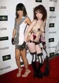 Actress Bai Ling poses with a Suicide Girl at the Captivity Movie Release Party at Privilege Nightclub on July 10 2007 in Hollywood CA
