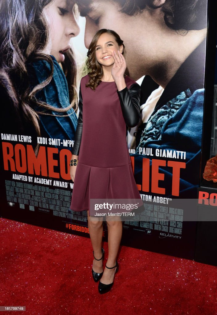 Actress Bailee Madison arrives at the premiere of Relativity Media's 'Romeo & Juliet' at ArcLight Hollywood on September 24, 2013 in Hollywood, California.