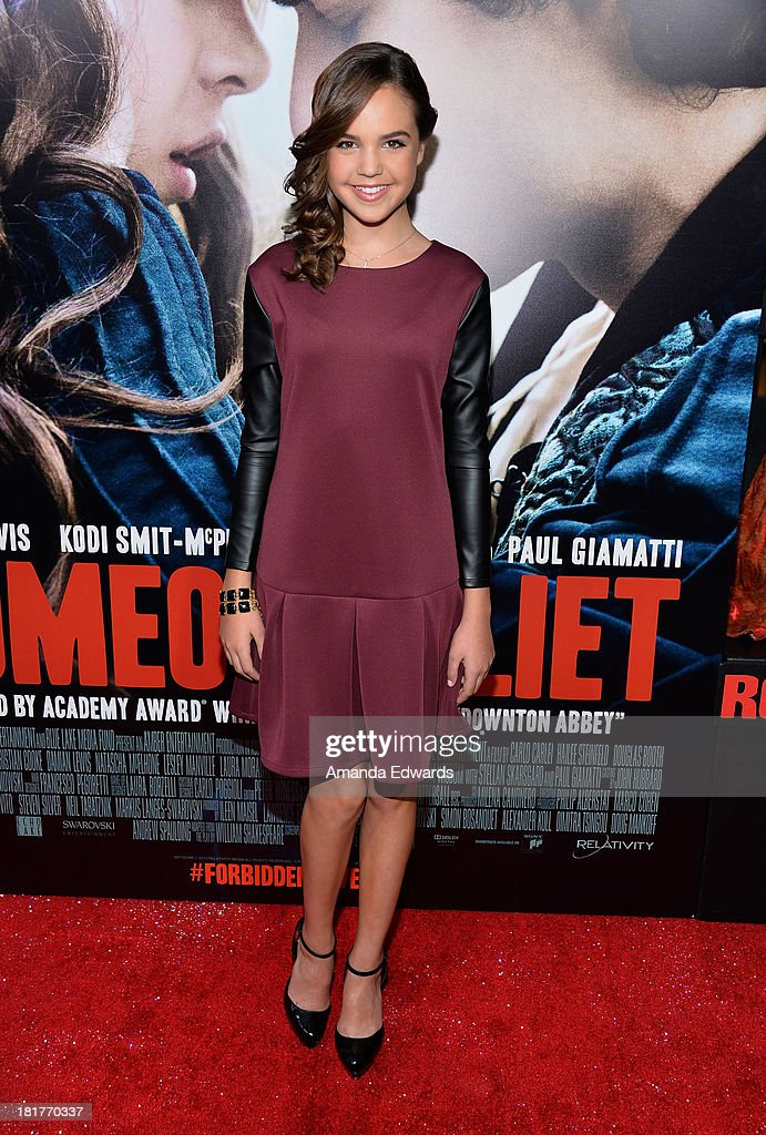 Actress <a gi-track='captionPersonalityLinkClicked' href=/galleries/search?phrase=Bailee+Madison&family=editorial&specificpeople=4136620 ng-click='$event.stopPropagation()'>Bailee Madison</a> arrives at the world premiere of 'Romeo and Juliet' at the ArcLight Hollywood on September 24, 2013 in Hollywood, California.