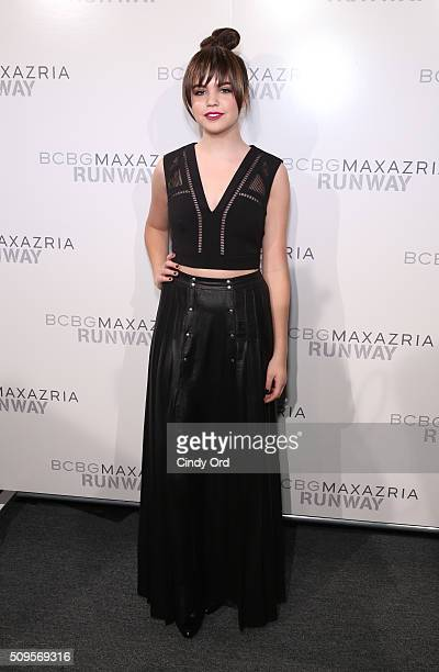 Actress Bailee Madison poses backstage at the BCBGMAXAZRIA Fall 2016 fashion show during New York Fashion Week The Shows at The Dock Skylight at...