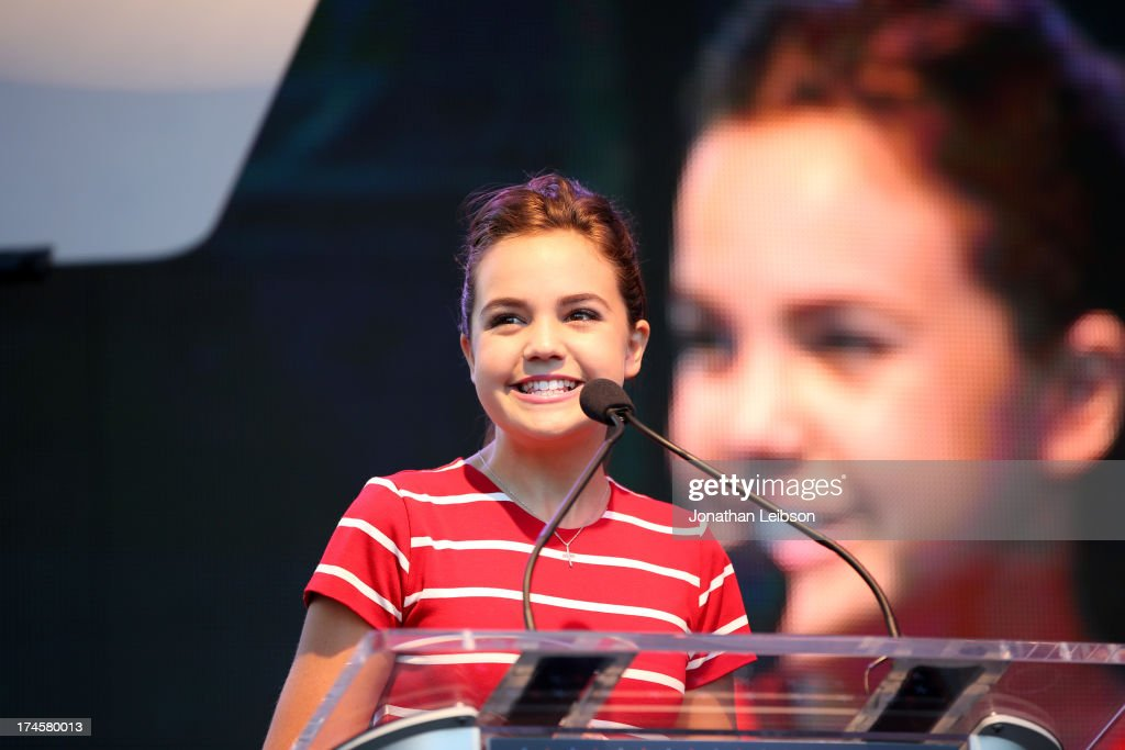 Actress Bailee Madison speaks onstage during Variety's Power of Youth presented by Hasbro Inc and generationOn at Universal Studios Backlot on July...
