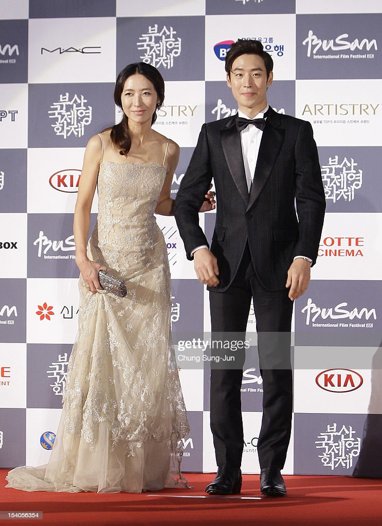 Actress Bang Eun-Jin and actor Lee Jae-Hoon arrive for the closing ceremony during the 17th Busan International Film Festival (BIFF) at the Busan Cinema Center on October 13, 2012 in Busan, South Korea. The biggest film festival in Asia showcases 304 films from 75 countries and runs from October 4-13.