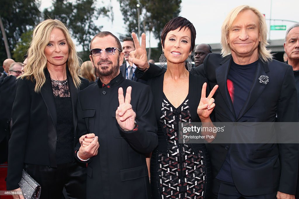 Actress Barbara Bach, musician Ringo Starr, Marjorie Bach and musician Joe Walsh attend the 56th GRAMMY Awards at Staples Center on January 26, 2014 in Los Angeles, California.